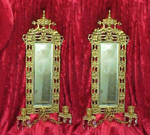 Pair Ornate Rococo Brass Victorian Mirror Wall Sconces Candlestick, Chinoiserie