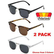 f40cb991ee1 2 PACK Polarized Club Sunglasses Men Vintage Metal Master Half Frame Black  Tort