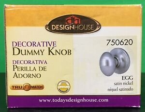 Design House Decorative Dummy knob Satin Nickel Egg Style 750620