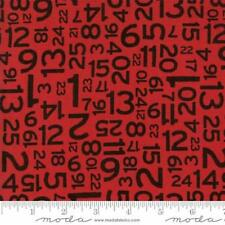 Moda Sweetwater Hometown Christmas Countdown Numbers Fabric in Red 5665-22
