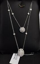 18k Solid White Gold Genius VS Diamond 0.92CT Double Chain Necklace. Was $7200