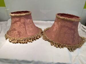 Pair Of Vintage Fringed Damask Lampshades