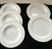 Fitz & Floyd NEVAEH White Dinner Plates & NEVAEH Platinum Large Rim Soup Bowls