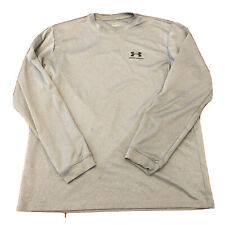 Under Armour Mens Shirt Large Long Sleeve Fitted Gray Running Training Sports