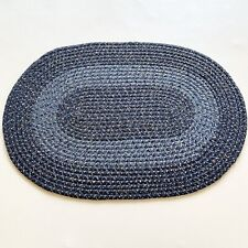 Vtg Farmhouse Primitive Braided Oval Rug 30 x 21 Med & Light Blue Ivory Flecks