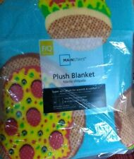 NEW Full/Queen Size Plush Bed Blanket  Pizza/Hamburger Design 90x90 inches