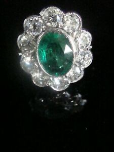 Fine 18ct white gold natural emerald 1.25ct and diamond 1.50ct cluster ring