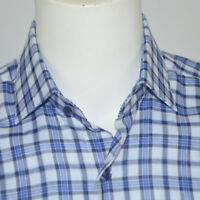 NWT HAMMER MADE 100% Cotton Blue Plaid Dress Shirt Sz 15.5 34/35