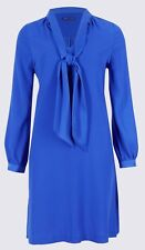 M&S Tie Neck Long Sleeve Swing Midi Dress Size 22 Work Office Career Wear BNWT