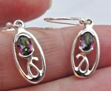 Superb Sterling Silver and Mystic Topaz Dangly Drop Ear Rings