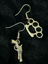 Gun & Brass Knuckle Duster Earrings Gentlemen Gangster Thug Punk Silver Plated