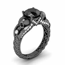 Engagement Ring Solid 925 Silver Woman Ring 2 Ct Black Round Cut Diamond Skull