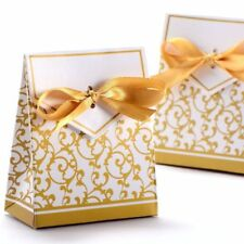 Wedding Favour Candy Gift Boxes with Ribbons 50pcs, Gold