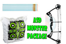 ASD Black Monster Compound Archery Bow Package With Storm II Bag Target