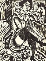 ERNST LUDWIG KIRCHNER GERMAN WOMAN TYING HER SHOE OLD ART PAINTING PRINT BB5286A