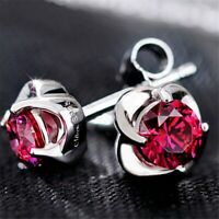 925 Sterling Silver Ruby Gemstone Rose Stud Earrings UK Seller
