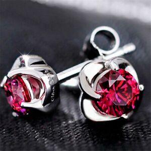 925 Sterling Silver Ruby Gemstone Rose Stud Earrings UK Seller