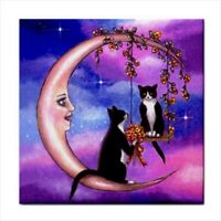 Tuxedo Cat 586 Moon Fantasy Large Ceramic Tile 6x6 Made USA art LDumas