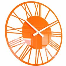 Naranja Acrílico Brillo Esqueleto Romano Reloj de Pared Naranja 34cm Dia 34.3cm