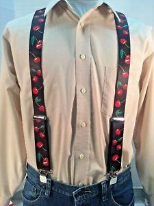 "New, Men's, Cherries on Black, XL, 1.5"",  Adj.  Suspenders / Braces, Made n USA"