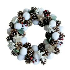 ALEKO Door Wall Holiday Christmas Cotton Wreath with Pine Cones and Cranberries