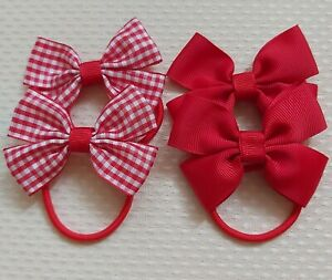 Handmade School Colour Hair Bow Bobbles Accessories Red x4