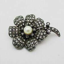 Fabulous Antique Gold Pearl & Diamond Flower Brooch. 1.5 Carats