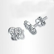 silver inlaid zircon gold-plated elephant earrings in gift box