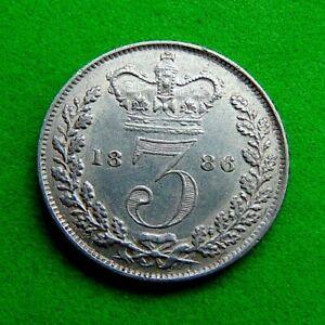 CHOICE  BU  GEM  VICTORIA  *1886*  SILVER  THREEPENCE  3d ...LUCIDO_8  COINS