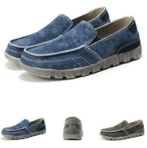 Mens Canvas Loafers Shoes Slip on Driving Moccasins Breathable Walking Casual