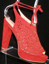 ALDO red fabric laser cut out rear slingback strap platform heels 7 EU 37.5