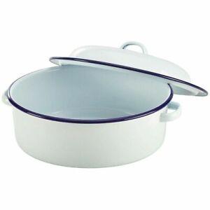 Enamel Roasting Baking Roaster Oven Dish Pan With Lid Tin Self Basting Falcon