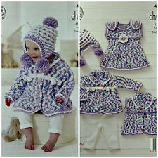 KNITTING PATTERN Baby Coat Hat Waistcoat and Dress Chunky King Cole 4653