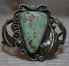Superb Vintage Old Navajo Native American Turquoise Sterling Silver Bracelet