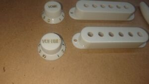 White  Electric Guitar Pickup Covers  Control Knobs Switch End Strat Style