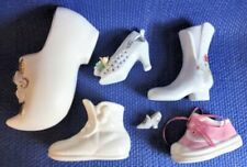 6 Miniature Shoes Collectible Lot White Decorative Porcelain Floral Design
