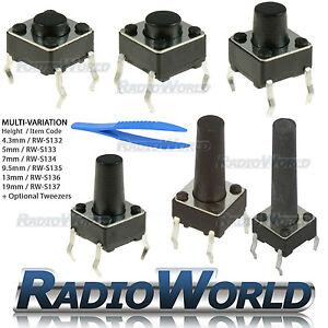 2-100pcs 4.3-12mm SPST Small Mini Micro Momentary Tactile Push Button Switch PCB