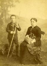 France Paris Mother & Son Photographer Studio old Cabinet Card Photo 1885