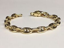 "Mariner chain/Bracelet 10 Mm 35 Grams 9"" 10 Kt solid Yellow Gold Heavy Anchor"