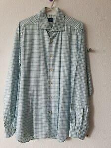 """A. Basile Mens Green Check Long Sleeve Collared Shirt Size 16.5"""" / 42"""""""