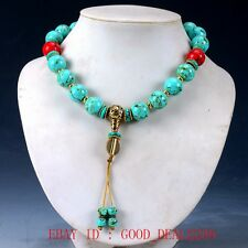 Chinese Old turquoise & Brass Handwork Decoration Necklaces XL031