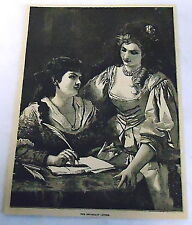 1878 magazine engraving ~ THE IMPORTANT LETTER ~ two women compose letter
