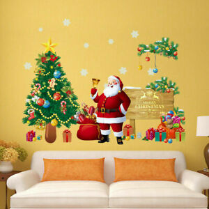 2022 Merry Christmas Tree Wall Stickers Decals XMAS Home Shop Window Decor UK