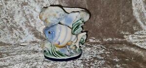 VINTAGE WALL POCKET VASE BLUE FISH FLOWERS POTTERY PORCELAIN JAPAN