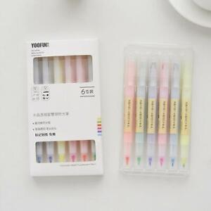 6pcs/set Korean Double-headed Highlighter Colorful Students Mark Marker Pen