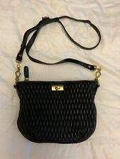 J CREW Baby Brompton Black Leather Quilted Crossbody Handbag