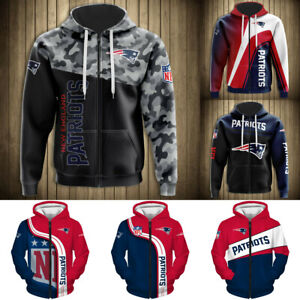 New England Patriots Hoodie Zipper Hooded Football Sweatshirt Casual Jacket Coat