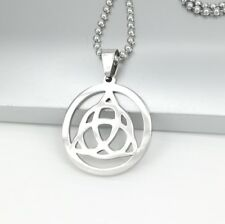 "Silver Irish Round Celtic Trinity Knot Pendant 24"" 61cm Mens Ball Chain Necklace"