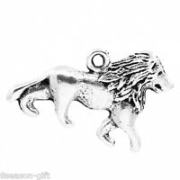 "30PCs Charm Pendants lion Animal Silver Tone 26mmx17mm(1""x5/8"")"
