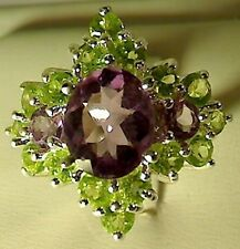 UNIQUE 925 STERLING SILVER 5 5 CT AMETHYST PERIDOT RING SIZE 6.5